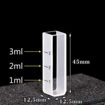 10mm Cuvette for Spectroscopy with Volume Graduations