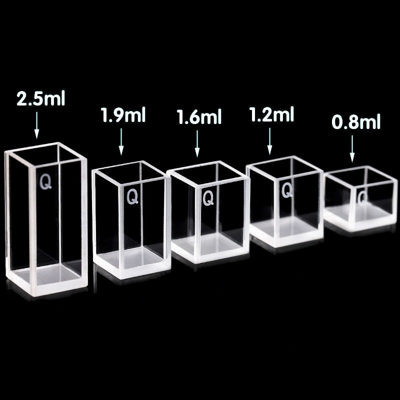 0.8 / 1.2 / 1.6 / 1.9 / 2.5 mL 4 Clear Window Square Cuvettes