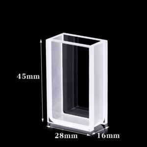 3mm Thick Wall 2 Clear Window 10mm Path Quartz Cuvette Size
