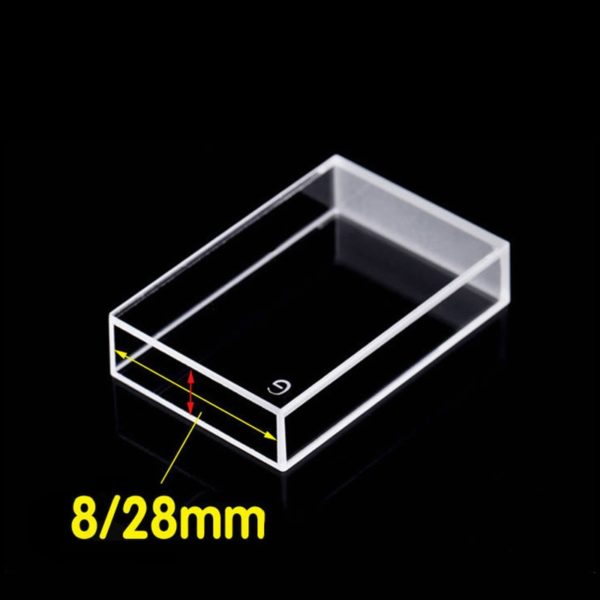 8x28 Dual Path Length 4 Clear Window Glass Material Cuvette