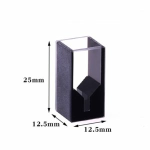 Custom 25mm Height (not 45mm) 100uL 2 Windows Black Wall Cuvette Dimension
