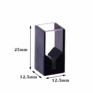 Custom 25mm Height (not 45mm) 100uL 2 Windows Black Wall Cuvette Dimension