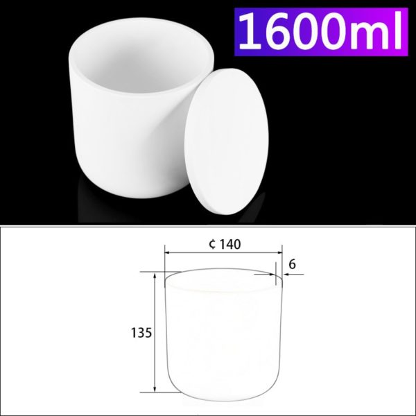 1600mL Alumina Crucibles with Cover Cylindrical