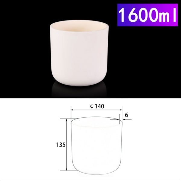 1600mL Cylindrical Alumina Crucible without Cover