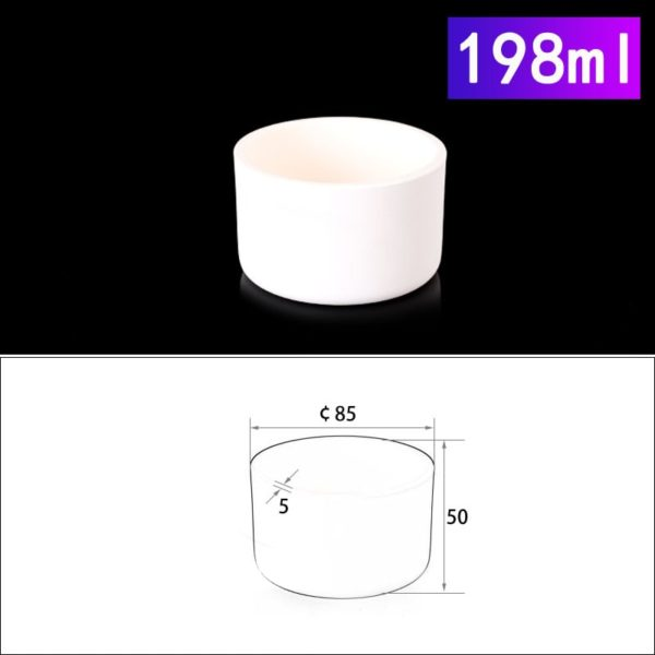 198mL Cylindrical Alumina Crucible without Cover