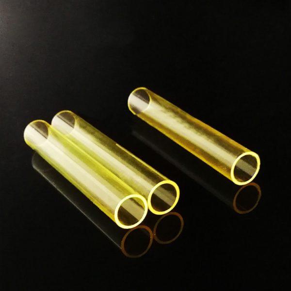Custom Yellow UV Filtering Quartz Tubes